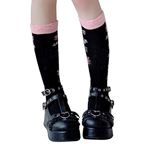 Urijk Mary Jane Chaussures Lolita Sucré Bout Rond Chaussures Plate-Forme Femme rétro collège Style fête Cosplay Style de Dame Mode Chaussures en Cuir Talon épais(Noir,38)