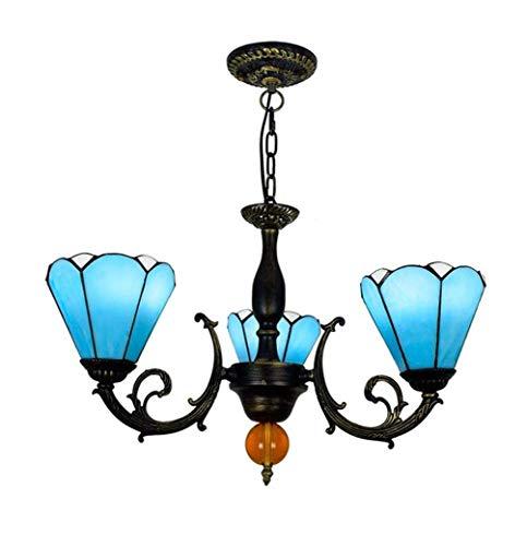Tiffany-stijl eetkamerlamp met Europese keramische kookplaat, mediterrane creativiteit, 3 koppen, voor slaapkamer, E27, max. 40 W x 3.