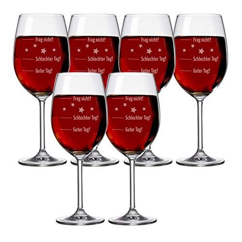 4you Design Set 6 Stück XXL Weingläser Leonardo Motiv Guter Tag, Schlechter Tag, Frag oiginelles Geburtstagsgeschenk - Wein - Rotwein- oder Weißweinglas - Idee
