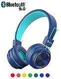 iClever Bluetooth Kopfhörer für Kinder, Bunte Lichter, Kopfhörer für Kinder, mit Mikrofon, Lautstärkeregler, faltbar, für iPad, Tablet, Kindle, Flugzeug, Schule