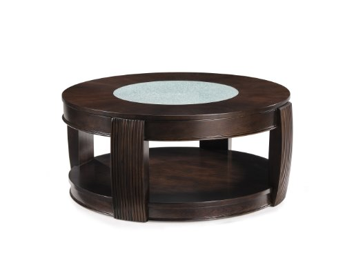 Hot Sale Magnussen T1738 Ino Burnt Umber Finish Wood and Glass Rd Cocktail Table