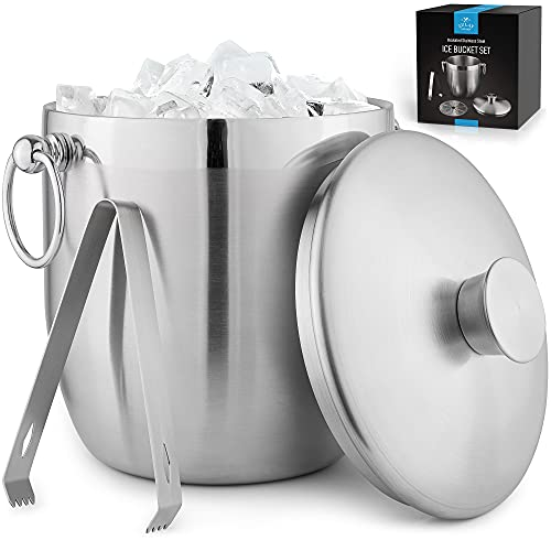 Zulay 3 Liter Double-Wall Insulated Ice Bucket For Cocktail Bar - Ice Buckets For Parties, Outdoor & Indoor - Stainless Steel Ice Bucket With Lid, Strainer & Tongs Included