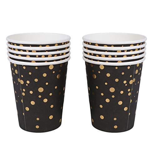 Amosfun wegwerp papieren bekers gouden stip gestempeld partij bekers Set voor bruiloft verjaardag verjaardag decoraties 10 stks zwart