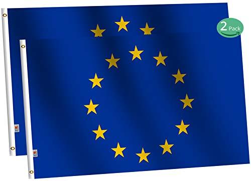 rhungift Drapeau Union Européenne 90X150cm,Coutures doublées et Bords renforcés - Drapeau Europe - Union européen - UE Bannière Drapeaux