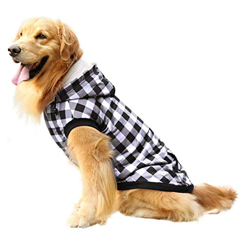 ASENKU Dog Winter Coat Fleece Thicken Dog Hoodie British Plaid Pet Jacket Warm Outfit with Removable Hat Windproof Vest for Small Medium Large Dogs, White, Medium