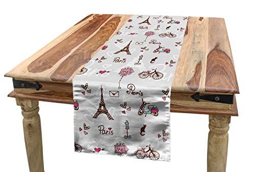 ABAKUHAUS Paris Chemin de Table, Ville de l'amour et de la Mode, Rectangulaire Décoratif pour Salle à Manger, 40 cm x 180 cm, Redwood Pink Pearl