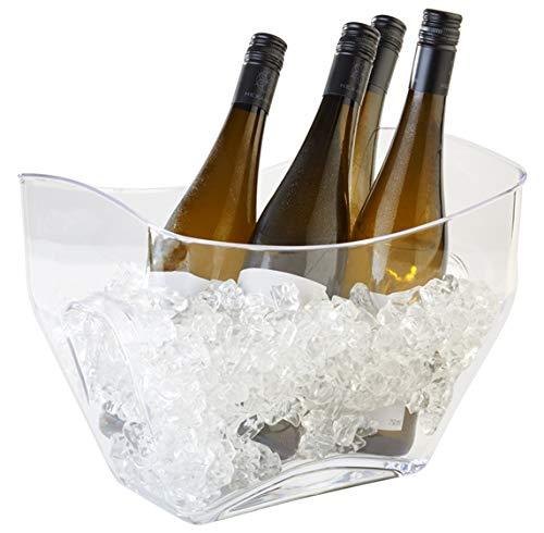 Buddy´s Bar - Weinkühler, Sektkühler, hochwertiger Flaschenkühler aus klar transparentem MS - Kunststoff mit seitlichen Griffen, 7 Liter Fassungsvermögen, wasserfest - abwaschbar