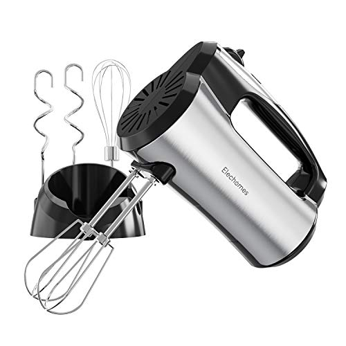 Hand Mixer Electric, Elechomes Kitchen Handheld Mixers with 5-speed 300w Turbo with Storage Base and 5 Stainless Steel Attachments(2 Beaters, 2 Dough Hooks and 1 Whisk)