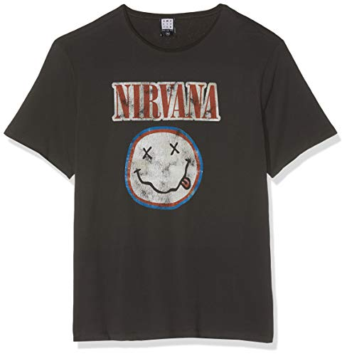 Amplified Nirvana-Colour Smiley T-Shirt, Grigio (Carbone), XXL Uomo