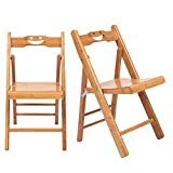 Knocbel 2 Pieces Dining Chairs, Bamboo Folding Chair for Indoor & Outdoor, 176 Lbs Capacity, 11' L x 11.8' W x 23.6' H (Natural Bamboo)