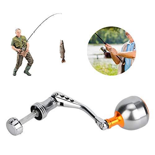 HelloCreate Kits de Carrete de Pesca CNC Mango de Metal Balancín Accesorios de Repuesto de Pescado para Shimano - Plata M