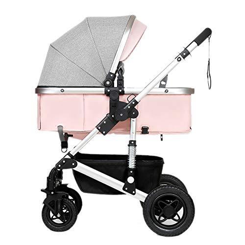 Poussettes JCOCO Bébé, Pliant Léger Amortisseur Enfants Pousser des Chariots De Bébé en Acier Au Carbone Cadre Chariot Infant Sit Ou Lie (Couleur : Pink)