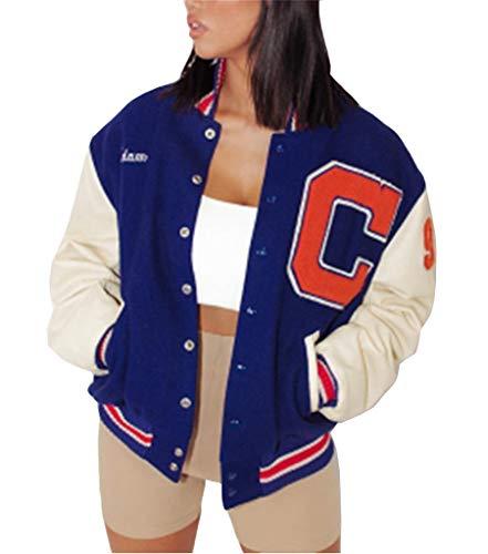 Onsoyours Bomberjacke Damen Sweatjacke Ladies College Sweat Jacket Reißverschluss Für Frauen Oversized Patchwork Jacke Vintage Druck Jacken Baseball Mantel I Blau M