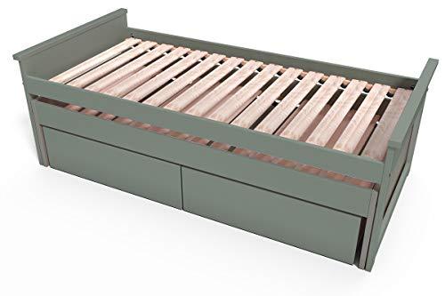 ABC MEUBLES - Lit Gigogne Maxi 90 x 200cm + tiroirs - TIRTOP - Gris, 90x200