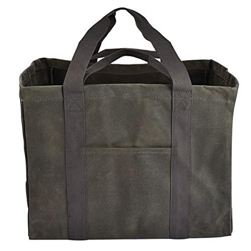 薪 バッグ 薪ケース トートバッグ 100%綿帆布 パラフィン防水加工 コンテナトート 薪持ち運び 薪入れ 大容量 キャンプ用品 収納