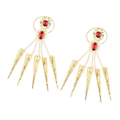 Baoblaze 2x Niñas Danza Del Vientre Pulsera Egipcia Uñas De Dedo Disfraces De Bollywood Tailandés