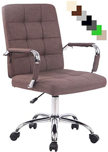 Bürostuhl Deli PRO mit Stoffbezug I Schreibtischstuhl mit Metalldrehkreuz I Chefsessel mit Laufrollen I erhältlich, Farbe:braun