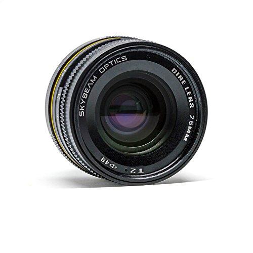 Skybeam Optics® - Objetivo para cámara Cine Pancake Lens® de 25 mm T2 (E-Mount)