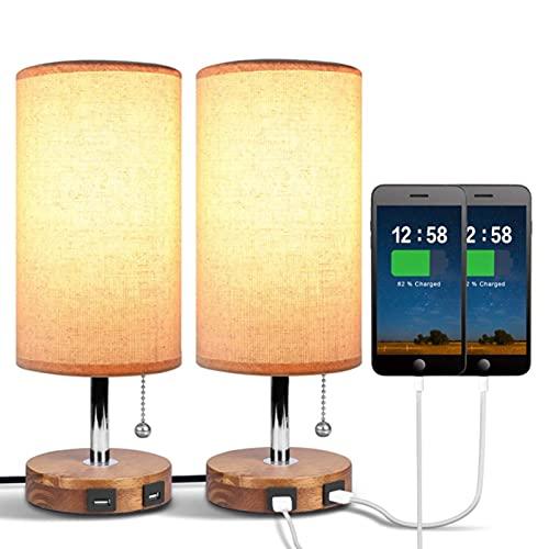 Lámpara De Mesa, Lámpara De Noche con Puerto De Carga USB con Cadena De Tracción Pantalla De...