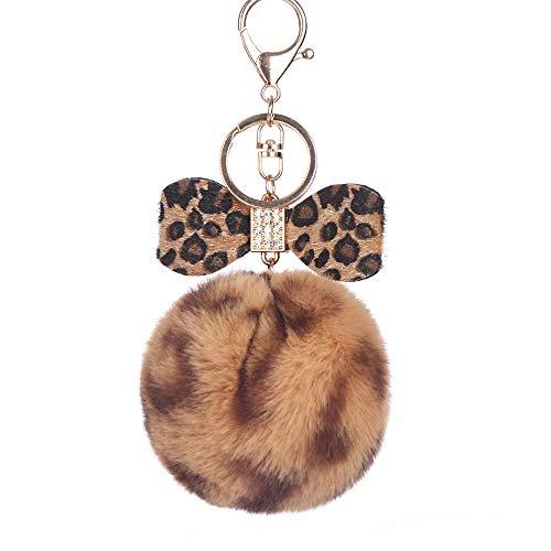 HINK Moda Leopardo Bola de Pelo Llavero Bolso Coche Colgante Leopardo Lazo joyería y Relojes llaveros