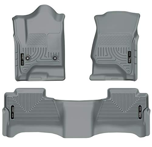 Husky Liners - 98232 Fits 2014-18 Chevrolet Silverado/GMC Sierra 1500 Crew Cab, 2015-19 Chevrolet Silverado/GMC Sierra 2500/3500 Crew Cab Weatherbeater Front & 2nd Seat Floor Mats (Footwell Coverage) Grey