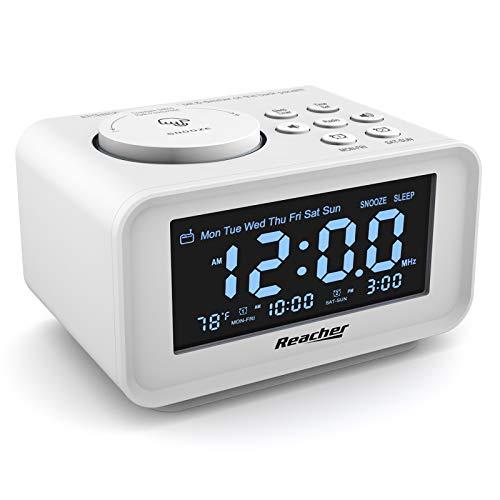 REACHER Radio Réveil avec Ports USB de Chargement,0-100% Gradateur,Volume d'alarme réglable, Affichage du thermomètre,Radio FM avec minuterie de Sommeil,Petite Taille pour Chambres à Coucher (Blanc)