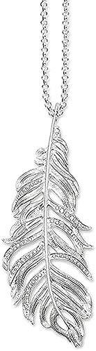 WYDSFWL Collar de Plumas Collar TS 925 Cadena de eslabones joyería de Moda Regalo para Mujeres Amigo Colgante Collar Chica Joven Regalo Regalo