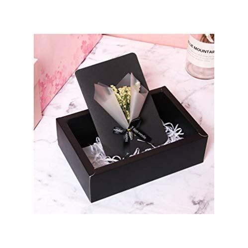 CHENTAOCS Creatieve wenskaart voor geschenken, creatieve verjaardagskaart, mini boeket geschenkkaart, verjaardagscadeau, versturen vriendin klassieke gedroogde bloem, zwart