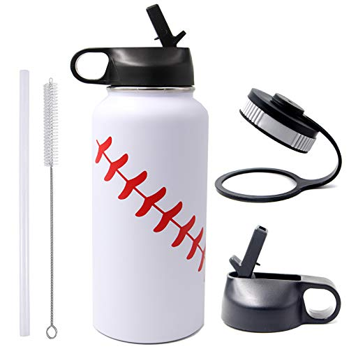 32 oz Baseball Softball Water Bottle, Wide Mouth Sports Flask Metal Travel Tumbler with 2 Lids 18/8 Stainless Steel Double Wall Vacuum Insulated (32oz, White baseball)