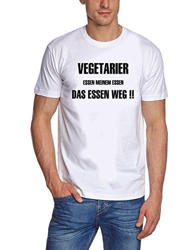 Coole-Fun-T-Shirts T-shirt pour homme avec inscription en langue allemand Vegetarier essen meinem Essen das Essen weg ! GRILL grillen Blanc Blanc/noir Small