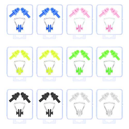 LAITER Kit de Natation 12 Pcs Clip de Nez et 12 Paires Bouchons d'oreilles en Silicone pour Natation Protecteur Multicolore Douce de Piscine pour Enfant Adulte 6 Couleurs pour Nager Dormir
