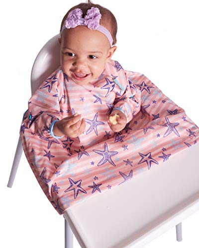 Weaning Bib - BIBaDO - The Award Winning Coverall, Attaches to Your highchair, Ideal for BLW Mess, Long Sleeves, Waterproof & Stain Resistant (Pink)
