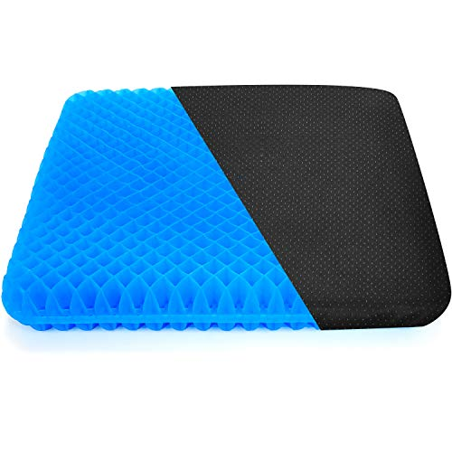 Gel Seat Cushion, Diamond-Shaped Double Thick Breathable Gel Seat Cushion Relief Back Pain Sciatica with Non-Slip Cloth Cover for Home Office Chair Wheelchair Car Seats