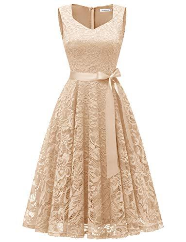 Gardenwed Damen Elegant Spitzenkleid Strech Herzform Abendkleid Cocktailkleider Partykleider Champagne M