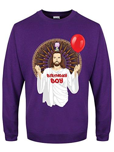 Grindstore Herren Weihnachtspullover Birthday Boy, violett