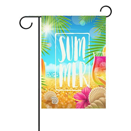 ALAZA Bandeira de jardim verão Hello Tropical Sea Beach floral Palm Leaves House Yard Banner para jardim com estampa dupla lateral 71 x 101 cm
