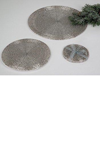 Untersetzer 10cm für Gläser, Platzset, mit Perlen, silber, FORMANO, 507204