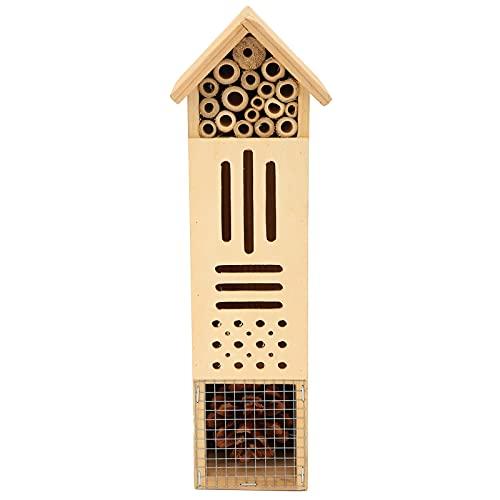 Surebuy Casa de Abejas, Troncos + bambú + Materiales de piña Casa de Insectos para jardín Balcón Terraza, Patio para Amantes de la Naturaleza