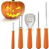 anaoo Decoración de Halloween Juego de Halloween Calabaza Kit de Talla 5 Herramientas de Tallado Acero Inoxidable para tallar Las Calabazas