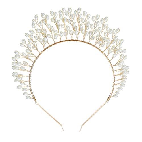 PRETYZOOM Cerceau de Cheveux de Mariage Élégant Couronne de Perles Bandeau Photo Prop Coiffure Décorative en Perles pour Femmes Dames (Doré)