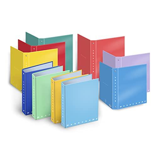 Pigna - Monocromo - 001314925, Cartella cartonata plastificata a 4 Anelli, Colori Assortiti, Formato A5 (18.5x22 cm), 5 Pezzi