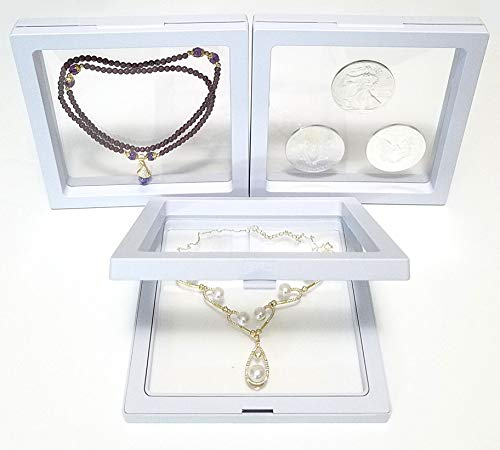 JM Pack of 3 pcs 5.5 x 5.5 x 0.75 Inches Transparent 3D Floating Frame Display Holder/Box/Frames for Challenge Coins, AA Medallions, Antique, Jewelry, Gift, White