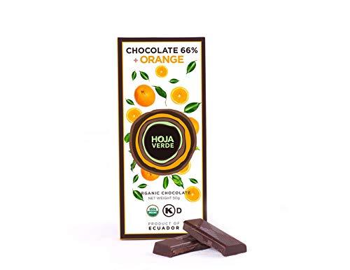 Hoja Verde Dark Chocolate Sugar, Dairy Free Bars, Keto Friendly, Organic Pure Cacao | Vegan, Natural, Non-GMO and Gluten Free | Pack of 3 (66% and Orange)