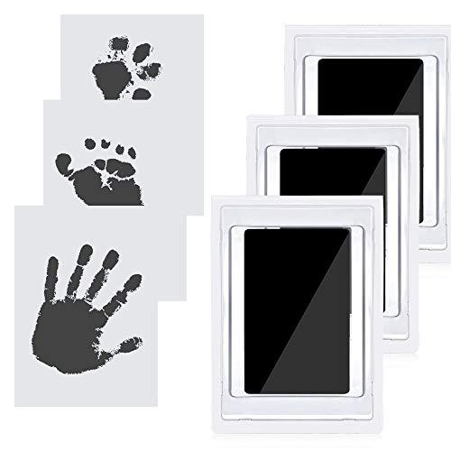 JustFine® 3 pcs Impresión manos huellas bebé, huella de perro tinta,cuadro huella bebe,almohadillas de tinta no tóxicas seguras, almohadillas de tinta sin tacto