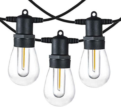 OxyLED Catena di luci a LED da 16 m, per esterni, 2 pin, plug-in LED, impermeabile, per Natale, matrimonio, festa, decorazione bianca calda (15 lampadine, 1 lampadina di ricambio)