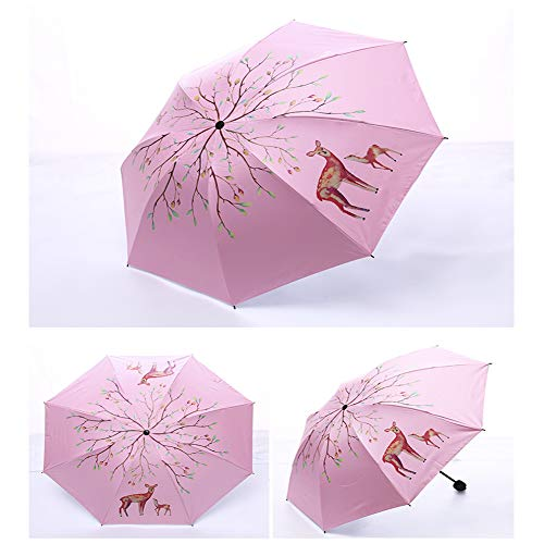 Foldable Umbrella Faltbarer Regenschirm, Mini Anti-UV Windschutz Sonnen- und Regen-Regenschirm, Leichter Kompakter Tragbarer Sonnenschirm für Männer, Frauen und Kinder,Pink,1Pcs