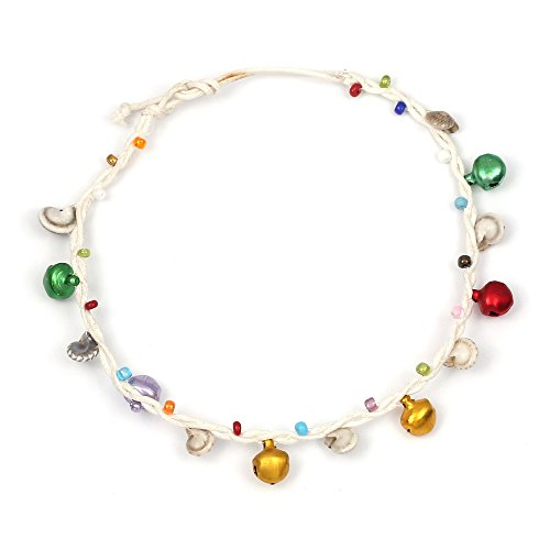 Handmade multicoloured beads with shells and bells white wax cord anklet with adjustable tie closure