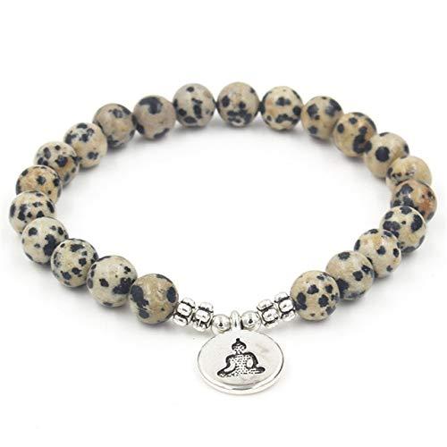 LEIGAGA Natuurlijke Gele Spot Stone Beaded Armband Een Cirkel Wrap Bracele voor Mannen Vrouwen met Lotus OHM Boeddha Bedel Yoga Healing Sieraden