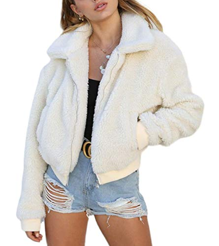 Carolilly Damen Teddy-Fleece Jacke mit Taschen Warm Plüsch Mantel Hoodie Sweatshirt Outwear (S, Weiß)