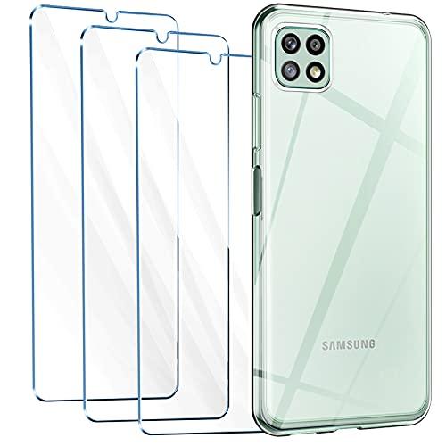Leathlux Cover Compatibile con Samsung Galaxy A22 5G con 3 Pellicola Vetro Temperato, Morbido Silicone Protettivo Bumper TPU Gel Smartphone Custodia Case - Trasparente